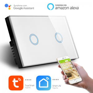 Interruttore Smart Home a 2 posizioni Touch WiFi Bianco LKM-SMSWT02W LKM Security Cristallo Temperato Controllo a Led Compatibile con Amazon Echo e Google Home