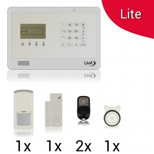 KIT Lite M2EB Antifurto Allarme Casa LKM Security Kit Wireless Senza Fili Controllabile da Cellulare con App Gratuita. Menù con Sintesi Vocale in Italiano e Manuale in Italiano