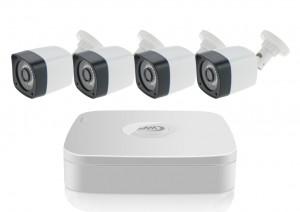 Kit DVR Analogico AHD con 4 Telecamere Analogiche da esterno colore Bianco