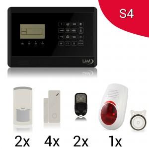KIT S4 M2E Antifurto Allarme Casa LKM Security Kit Wireless Senza Fili Controllabile da Cellulare con App Gratuita. Menù con Sintesi Vocale in Italiano e Manuale in Italiano Colore NERO