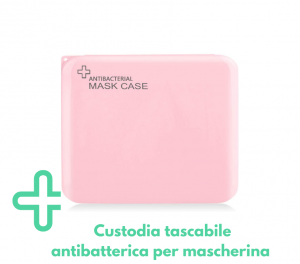 Contenitore porta mascherina portatile antibatterico rosa