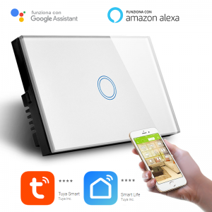 Interruttore Smart Home a 1 posizione Touch WiFi Bianco LKM-SMSWT01W LKM Security Cristallo Temperato Controllo a Led Compatibile con Amazon Echo e Google Home