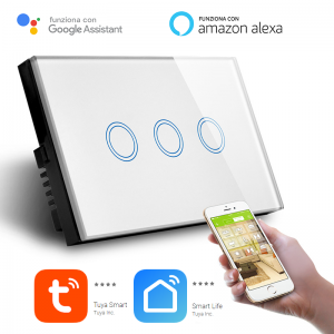 Interruttore Smart Home a 3 posizioni Touch WiFi Bianco LKM-SMSWT03W LKM Security Cristallo Temperato Controllo a Led Compatibile con Amazon Echo e Google Home
