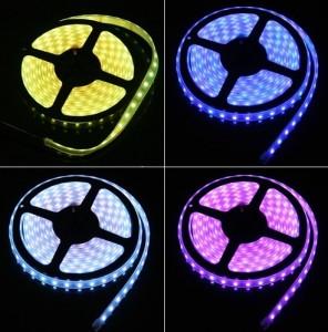 Striscia LED a 60 Lunga 5 metri colore RGB multicolore Resistente alle intemperie con biadesivo incorporato