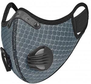 Maschera sportiva con filtro protezione antipolvere grigio