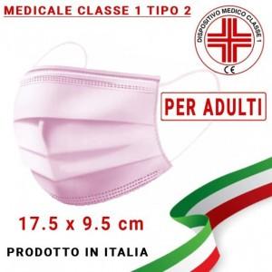 Mascherina Medicale ADULTI Tipo 2 tre strati UNI EN 14683:2019 modello chirurgico colore Rosa (confezione sigillata da 10pz)