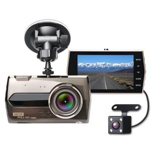 Telecamera per auto Full HD 1080P ampio angolo di visione 170° con display 4 pollici G-Sensor a batteria con retrocamera
