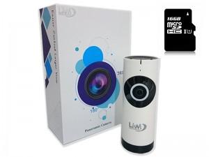 Telecamera IP Wireless LKM Security con 16 GB ottica Fisheye HD funzione P2P con MicroSD da 16GB