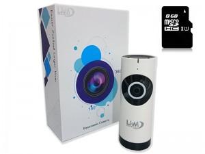 Telecamera IP Wireless LKM Security con 8 GB ottica Fisheye HD funzione P2P con MicroSD da 8GB