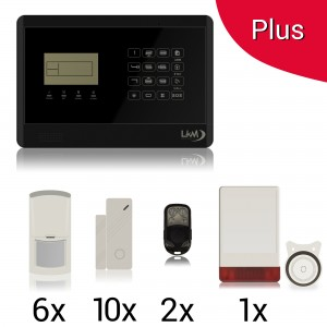 KIT PLUS Antifurto Allarme Casa Kit GSM Wireless Senza Fili con Sirena Esterna Wireless ad Energia Solare controllabile da cellulare con apposita