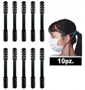 [NEW-CONFORT] 10X Fascetta di estensione per elastici delle mascherine, 10 pezzi, protezione per le orecchie, colore nero
