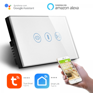 Interruttore Tapparelle Smart Home a 3 pulsanti Touch WiFi Bianco LKM-SMTP01W LKM Security Cristallo Temperato Controllo a Led Compatibile con Amazon Echo e Google Home