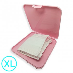LKM Contenitore Extralarge porta mascherina portatile antibatterico tascabile ion AG+ agli ioni d'argento - Custodia mascherina - Scatola porta mascherina colore rosa- Organizer per mascherine antivirus - antipolvere - antimuffa