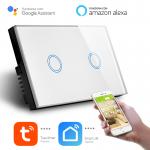 Interruttore Smart Home a 2 posizioni Touch WiFi Bianco LKM-SMSWT02W LKM Security Cristallo Temperato Controllo a Led Compatibile con Amazon Echo e Google Home