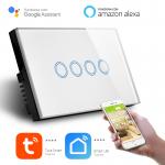 Interruttore Smart Home a 4 posizioni Touch WiFi Bianco LKM-SMSWT04W LKM Security Cristallo Temperato Controllo a Led Compatibile con Amazon Echo e Google Home