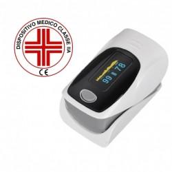 [REGISTRATO MINISTERO] Ossimetro Misurazione Ossigeno nel sangue  Ossimetro Saturimetro  Pulsossimetro da dito Certificato CE registrato ISS Colore Grigio