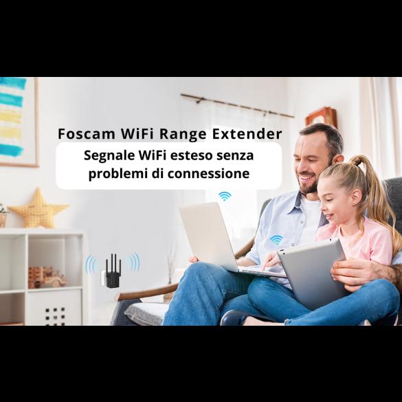 [RIPETITORE WIFI] Foscam WiFi Range Extender Router Ripetitore di segnale Internet 1200 Mbps amplificatore wireless dual band 2.4G e 5GHz con segnale led intelligente - alta velocità, configurazione con pulsante WPS porta Ethernet