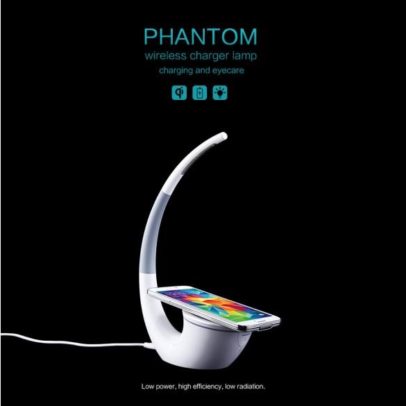 Lampada LED da tavolo ad alta luminosità con alimentatore carica batterie wireless per dispositivi