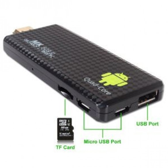 Android 4.4 mini PC a 1,8 GHz Quad Core con 2G RAM DDR3 TV Box TV Dongle Bluetooth WIFI HDMI MK809 III