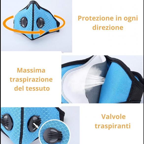 [NUOVA] Mascherina sportiva con filtro in carbone e filtro sostituibile IN TESSUTO 95% Mascherina di protezione antipolvere non DPI non DM colore Viola
