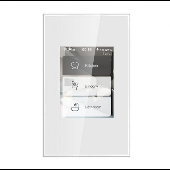 Interruttore Smart Schermo LCD Touch a colori Smart Home Switch 5 Modelli in 1 Illuminazione Interruttore Touch Luci e Dimmer Tapparelle e Serrande Smart Home Schermo WiFi compatibile Alexa e Google Home Bianco