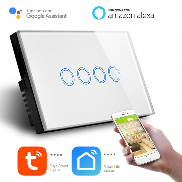 Interruttore Smart Home a 4 posizioni Touch WiFi Bianco LKM-SMSWT04W LKM Security Cristallo Temperato Controllo a Led Compatibile con Amazon Echo e Google Home
