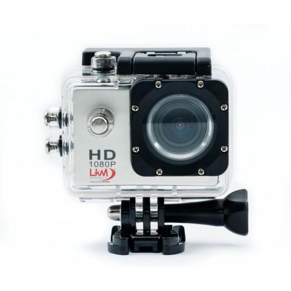 ActionCam HD LKM 1080P  Impermeabile con Slot MicroSD e Micro USB per riprese sportive e professionali Colore Silver