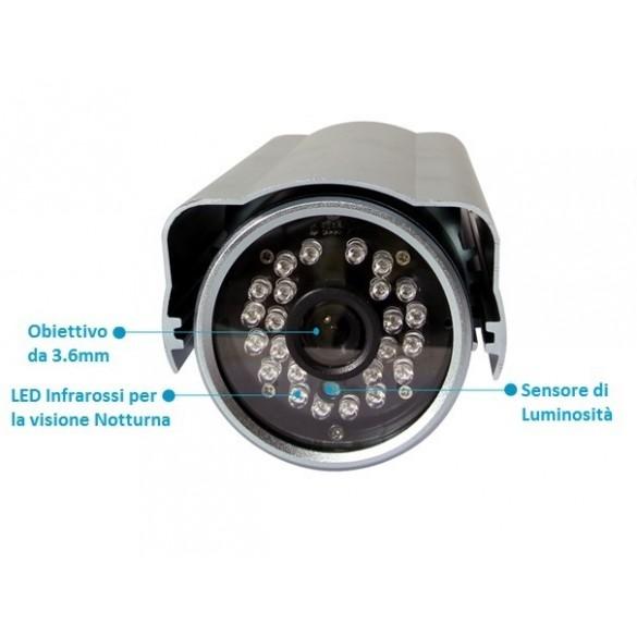 Telecamera IP Da Esterno IP66 Wireless LKM Security Videosorveglianza WiFi colore argento con P2P QR Code