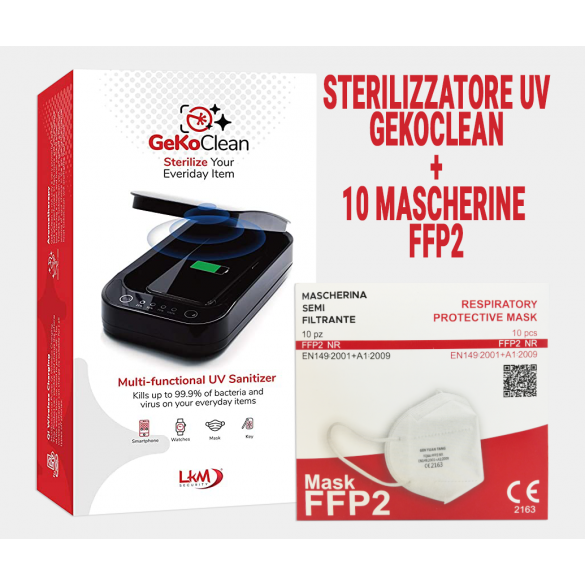 [PACK RISPARMIO] Gekoclean Sterilizzatore UV con 10 Mascherine FFP2 certificate CE 2163 incluse nella confezione