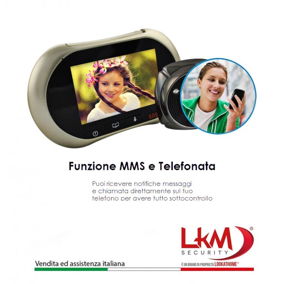 Spioncino Digitale LKM Security con Schermo Touch Screen da 3,7 pollici GSM