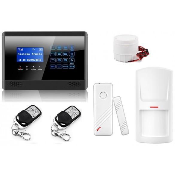 Nuovo Antifurto Allarme Casa Kit Gsm Wireless Senza Fili Controllabile Da Cellulare Con Apposita App - Menu E Manuale In Italiano colore Nero