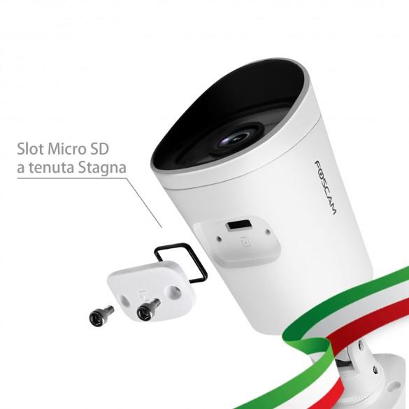 Foscam G4EP Telecamera IP PoE da Esterno Bullet 4 Megapixel 112° Colore Bianco Compatibile con Alexa
