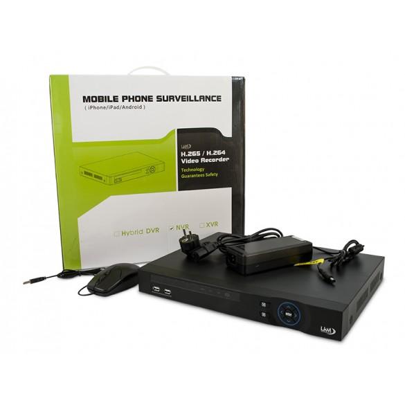 NVR per Telecamere IP PoE 9 Canali LKM Security con 8 porte PoE Onvif
