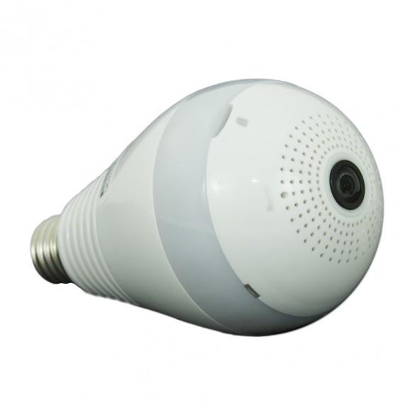Telecamera Wifi Fisheye LKM Security a Lampadina 220V a LED colore bianco