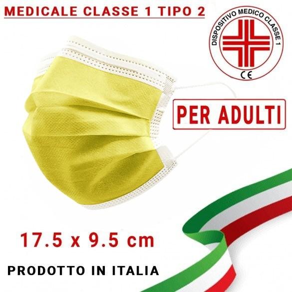 Mascherina Medicale ADULTI Tipo 2 tre strati UNI EN 14683:2019 modello chirurgico colore Giallo (confezione sigillata da 10pz)