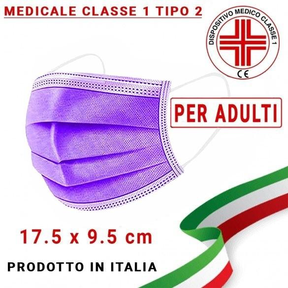 Mascherina Medicale ADULTI Tipo 2 tre strati UNI EN 14683:2019 modello chirurgico colore Viola (confezione sigillata da 10pz)
