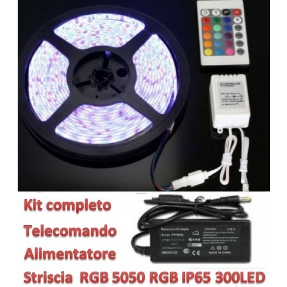 KIT 60 led 5mt 5050 RGB flex  IP65 Biad. Telecomando e Alimentatore