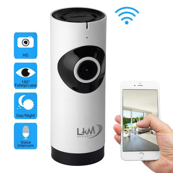 Telecamera IP Wireless LKM Security con 8 GB ottica Fisheye HD funzione P2P con MicroSD da 8GB