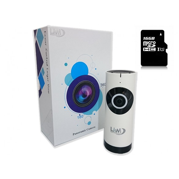Telecamera IP Wireless LKM Security con 16 GB ottica Fisheye HD funzione P2P con MicroSD da 16GB