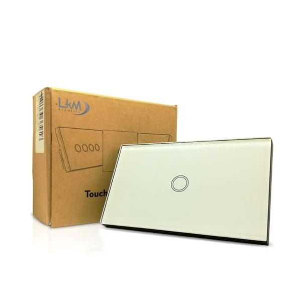 Interruttore Smart Home a 1 posizione Touch WiFi Bianco LKM-SMSWT01W LKM Security Cristallo Temperato Controllo a Led Compatibile con Amazon Echo e Google Home