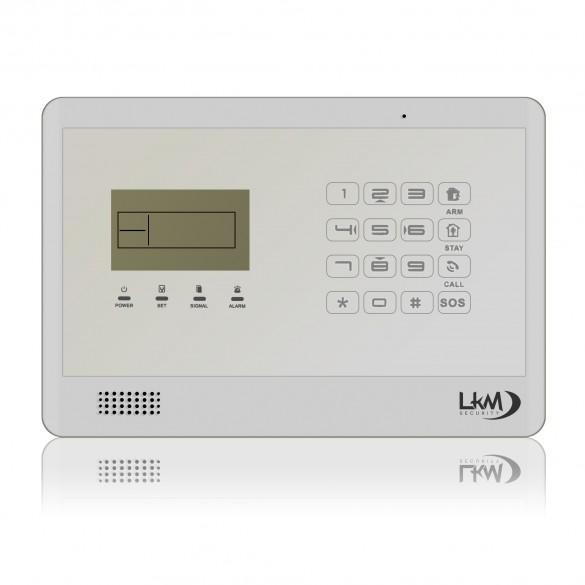 KIT S8 M2E Antifurto Allarme Casa LKM Security Kit Wireless Senza Fili Controllabile da Cellulare con App Gratuita. Menù con Sintesi Vocale in Italiano e Manuale in Italiano Colore Bianco