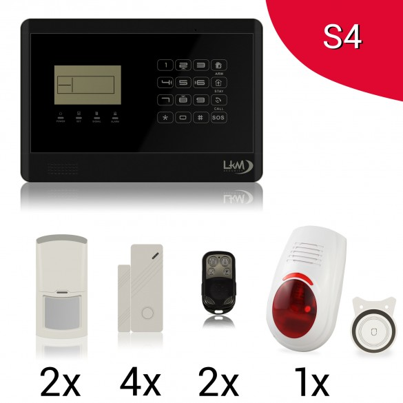 KIT S4 M2E Antifurto Allarme Casa LKM Security Kit Wireless Senza Fili Controllabile da Cellulare con App Gratuita. Menù con Sintesi Vocale in Italiano e Manuale in Italiano Colore NERO