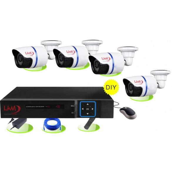 KIT videosorveglianza LKM Security®  POE con NVR 4 cam da esterno