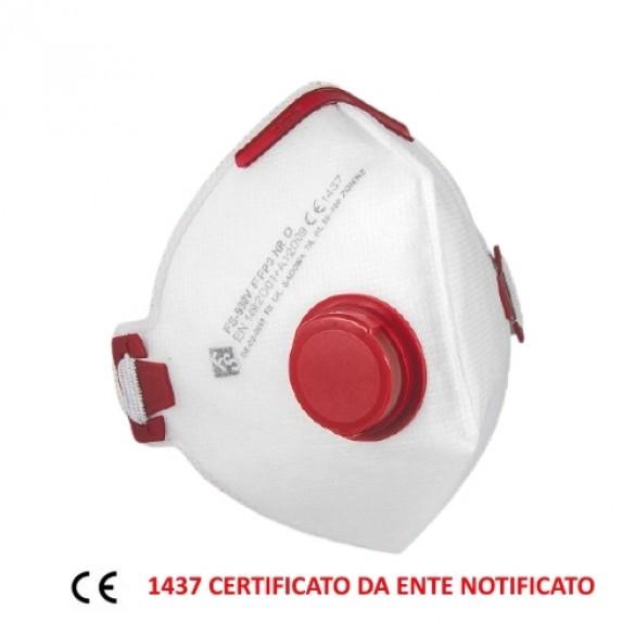 Mascherina FFP3 NR con valvola D Certificata CE ente 1437 EN 149:2001 +A1:2009