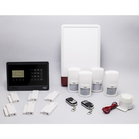 KIT S8 M2E Antifurto Allarme Casa LKM Security Kit Wireless Senza Fili Controllabile da Cellulare con App Gratuita. Menù con Sintesi Vocale in Italiano e Manuale in Italiano Colore Nero