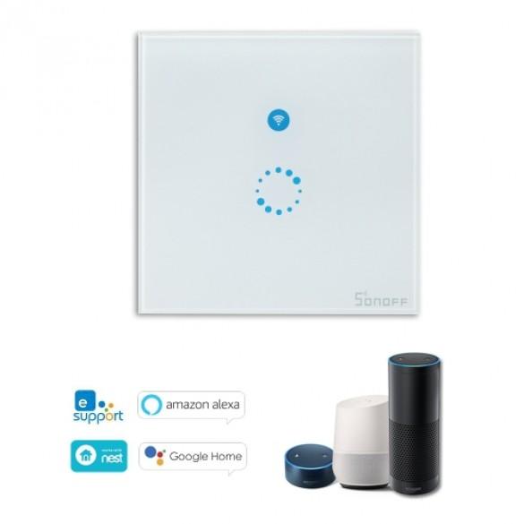 Interruttore Smart Home Sonoff a 1 posizione Touch Panel Wi-Fi telecomando 433Mhz Smart Switch a muro Bianco