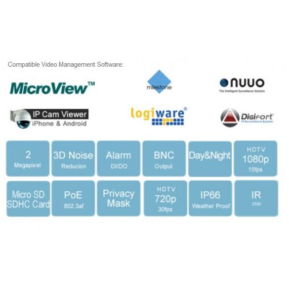 Micronet HD da esterno  1080P 2Mp WDR varifocal SD slot