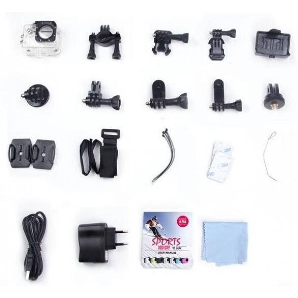 Action Cam HD LKM 1080P  Impermeabile con Slot MicroSD e Micro USB per riprese sportive e professionali Colore Bianco