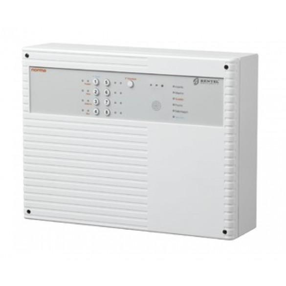 Centrale di allarme 8 zone, contenitore plastico, con alimentatore switching da 1,5A. Chiave di prossimità sul pannello