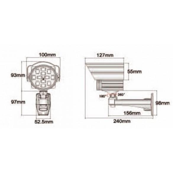 Illuminatore IR 150 mt 10° - led alta potenza -